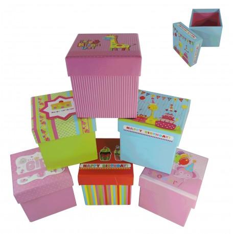 Caja Cartón cuadrada 6 Mod Surtidos