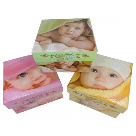 Caja Cartón Cuadrada Bebe 4 Mod