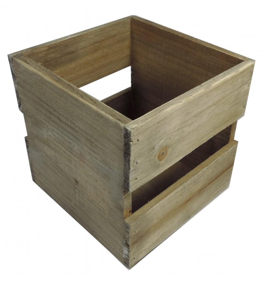 Caja madera peque a cuadrada natural for Cajas de madera pequenas