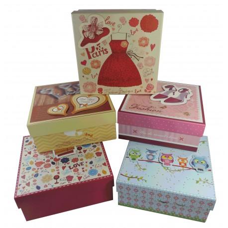 Caja Cartón 5 Modelos Cuadrada