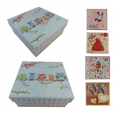 Caja Cartón 5 Modelos Cuadrada Grande