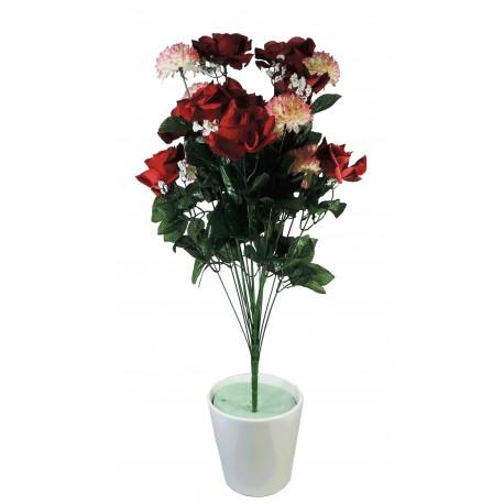 Ramo Redondo Capullos / Crisantemos x22 Rojo