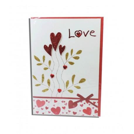 "Tarjeta ""Love"" Flores Corazon"