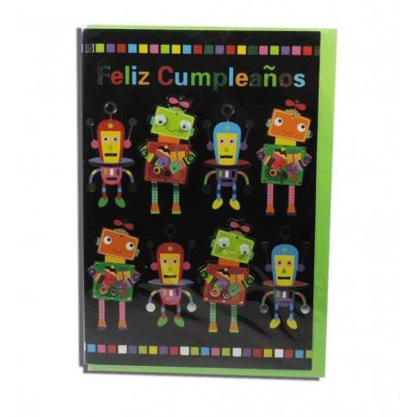 """Tarjeta """"Feliz Cumpleaños"""" Robots"""
