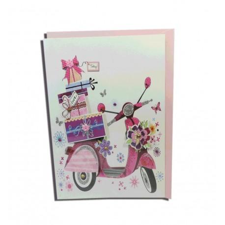 Tarjeta Moto Rosa