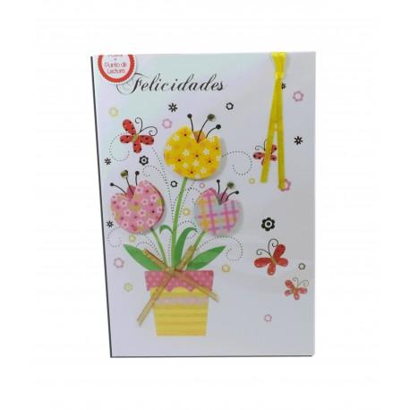 "Tarjeta Flores ""Felicidades"" + Punto Lectura"
