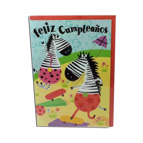 """Tarjeta Cebras """"Feliz cumpleaños"""""""