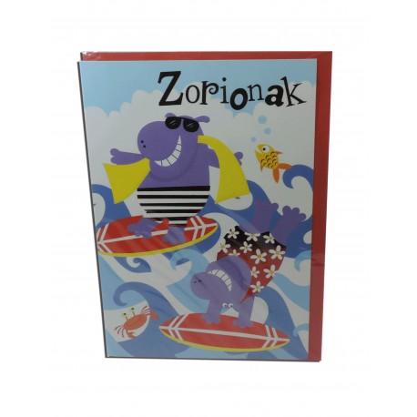 """Tarjeta Hipopotamos """"Zorionak"""""""