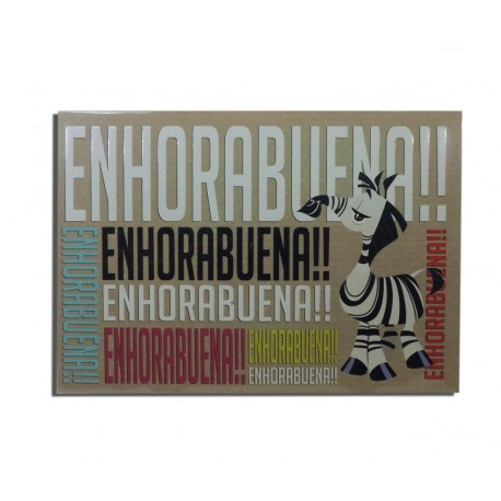 "Tarjeta Cebra ""Enhorabuena"""