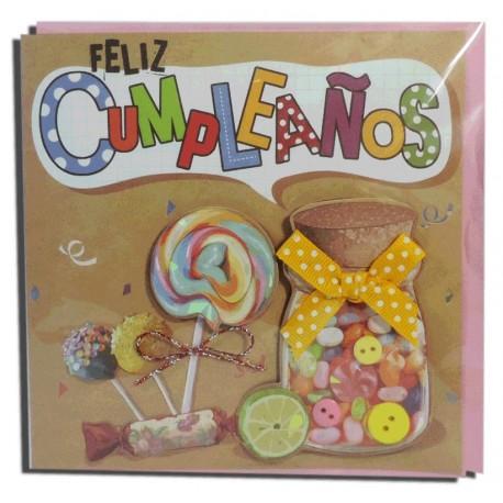 """Tarjeta """"Feliz Cumpleaños"""" Chuches"""