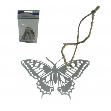 Mariposa Metal Colgante Blanco