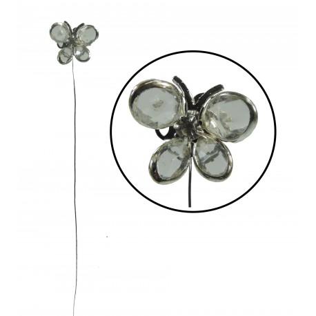 Mariposa en Alambre Transparente/Plata