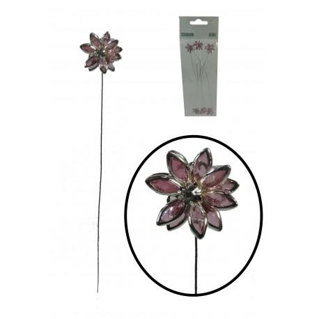 Flor en Alambre Rosa/Plata
