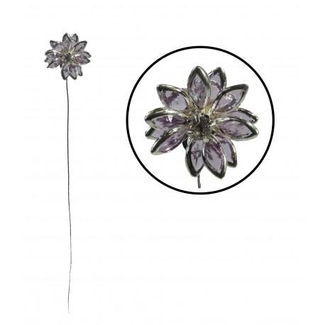 Flor en Alambre Lila/Plata
