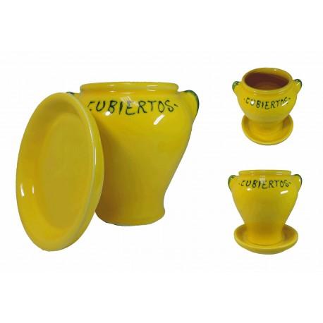Cubierto con Plato Amarillo Ceramica