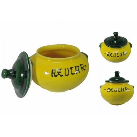 Azucarera con Tapa Amarillo Ceramica