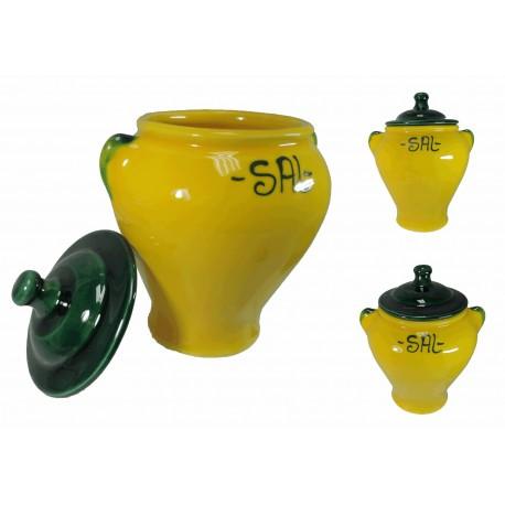Salero con Tapa Amarillo Ceramica