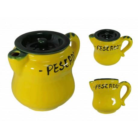Jarra Pescado Amarillo Ceramica