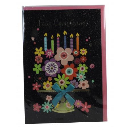 Tarjeta Flores Feliz Cumpleaños