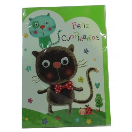 """Tarjeta Feliz Cumpleaños """"Gatos"""""""