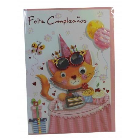 "Tarjeta Feliz Cumpleaños ""gatito Feliz"""