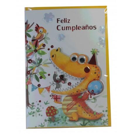 "Tarjeta Feliz Cumpleaños ""Cocodrilo Feliz"""