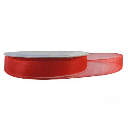 Cinta Organza Brillante Rojo 15mm