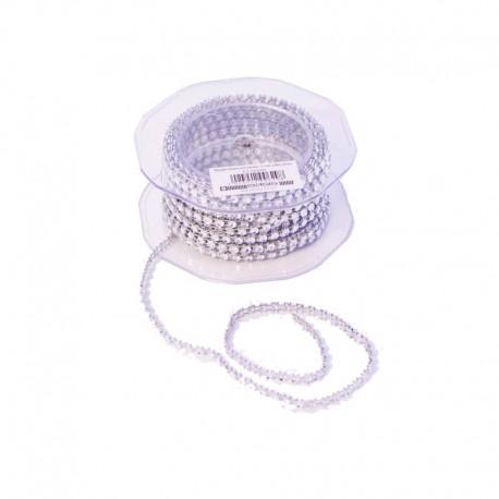 Cordon Diamante Plástico 1Fila Plata