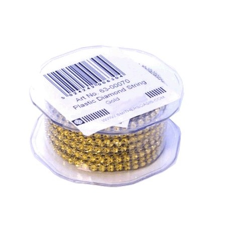 Cordon Diamante Plástico 1Fila Oro