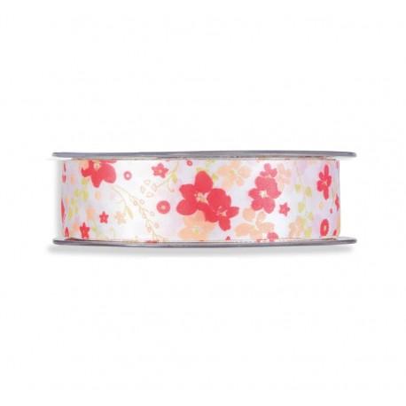 Cinta Raso Flores 25mm x 20mts Rosa