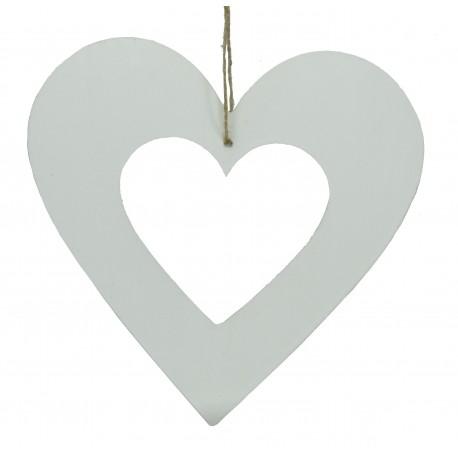 Corazón Colgante Calado Blanco 18 cm