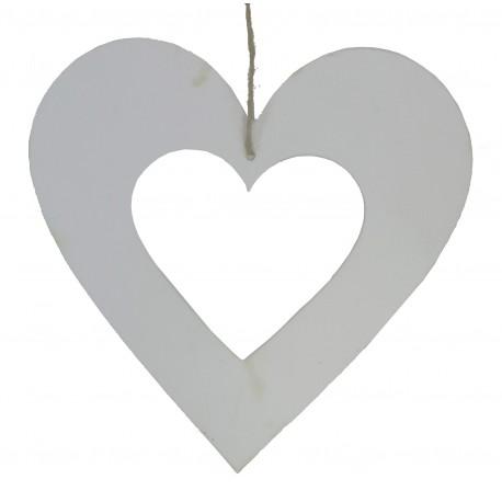 Corazón Colgante Calado Blanco 24 cm
