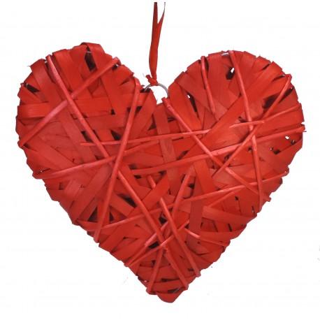 Corazón Bambu Mimbre Forrado 35 cm