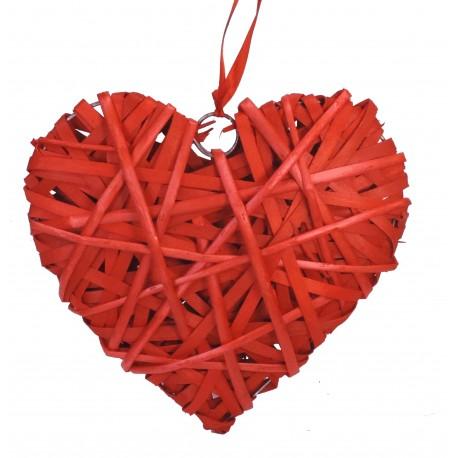 Corazón Bambu Mimbre Forrado 25 cm
