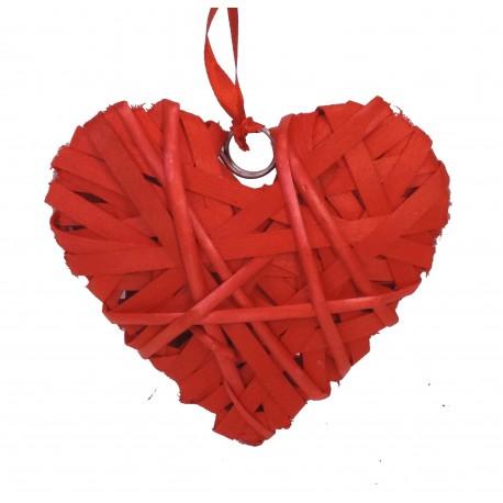 Corazón Bambu Mimbre Forrado 15 cm