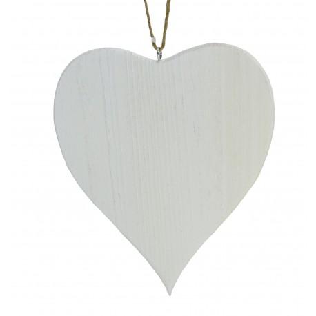 Corazón Madera Blanco 18 cm