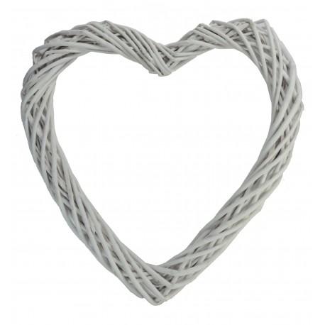 Corazón 30 cm Mimbre Blanco