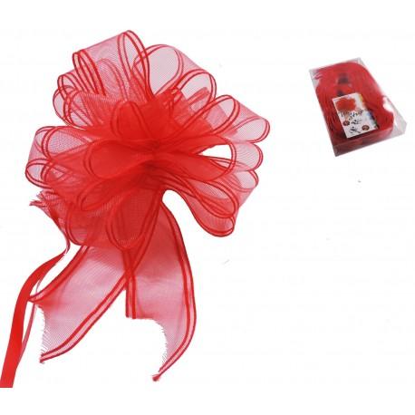 Lazo Automático Organza Rojo 30 mm x 15 uds