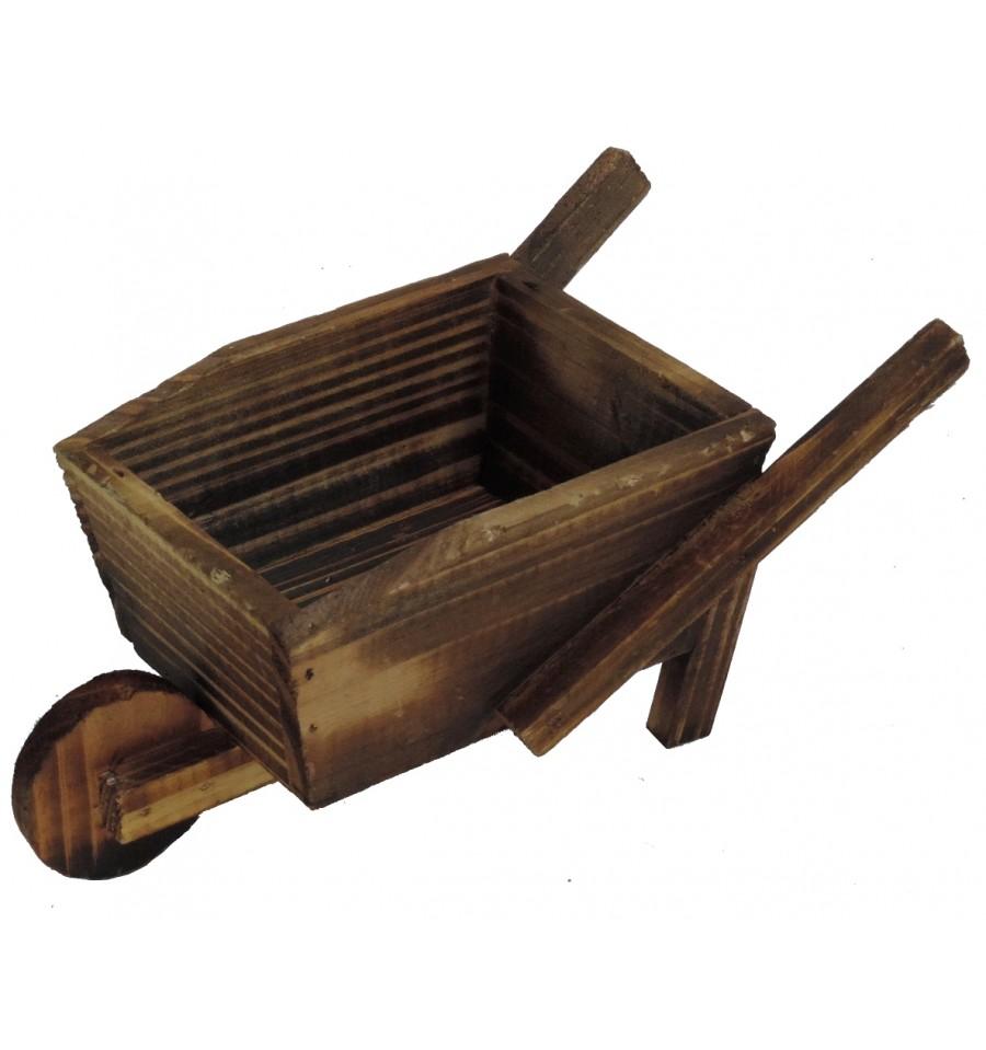 Carretilla madera macetero 22 cm - Macetero de madera ...