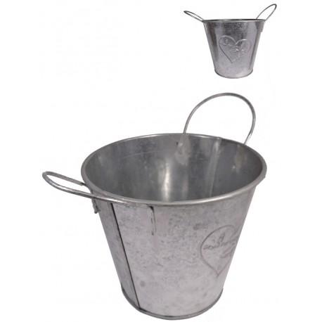 Maceta Cubo Metal C/Asa Ø14 cm