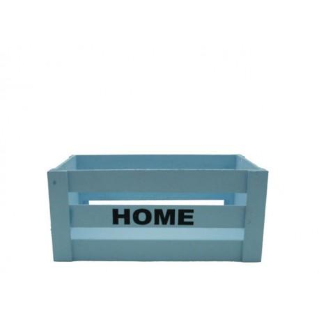 Caja Madera Rectangular con Texto Azul 25cmx15↨