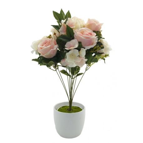 Ramo Rosas y Hortensias Crema-Rosa