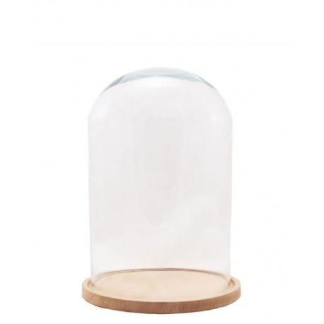 Fanal Decoración ↕29x Ø18 cm base madera haya