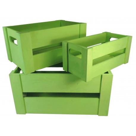 Juego 3 Cajas Madera Verde