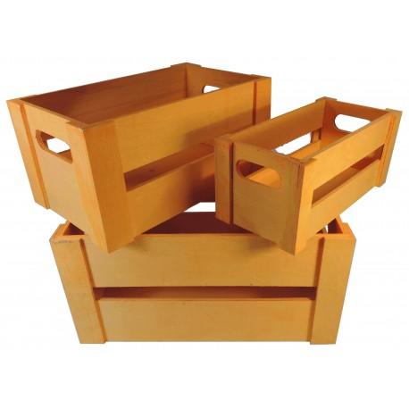 Juego 3 Cajas Madera Naranja